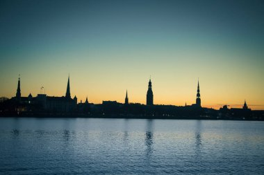 A beautiful city panorama during the sunrise. Riga, Latvia. Colorful cityscape.