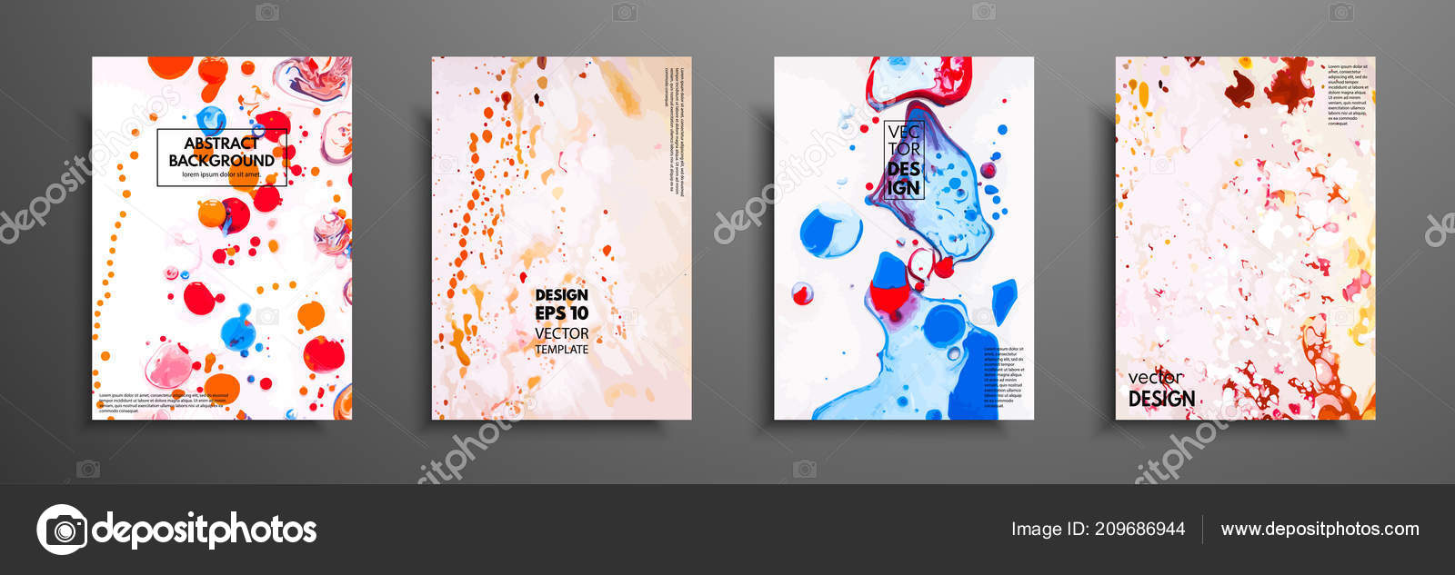 Set Of Universal Cards Fluid Art Hand Drawn Cards With Abstract