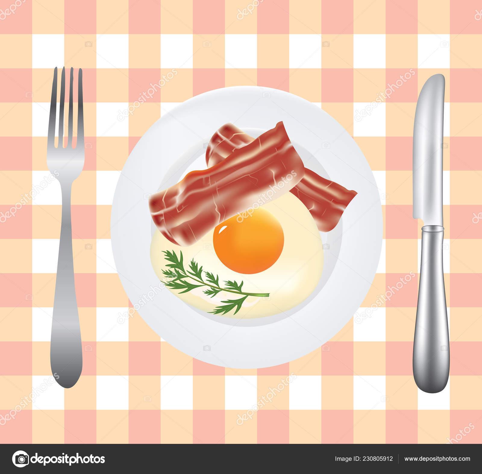 Breakfast Plate Egg Bacon Vector Stock Vector C Marijamara 230805912