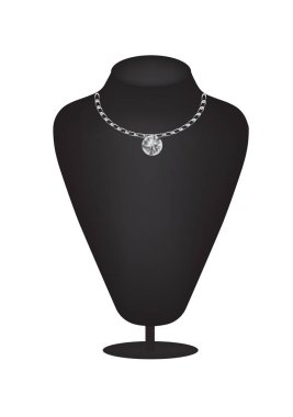 Mannequin silhouette with diamond necklace, vector