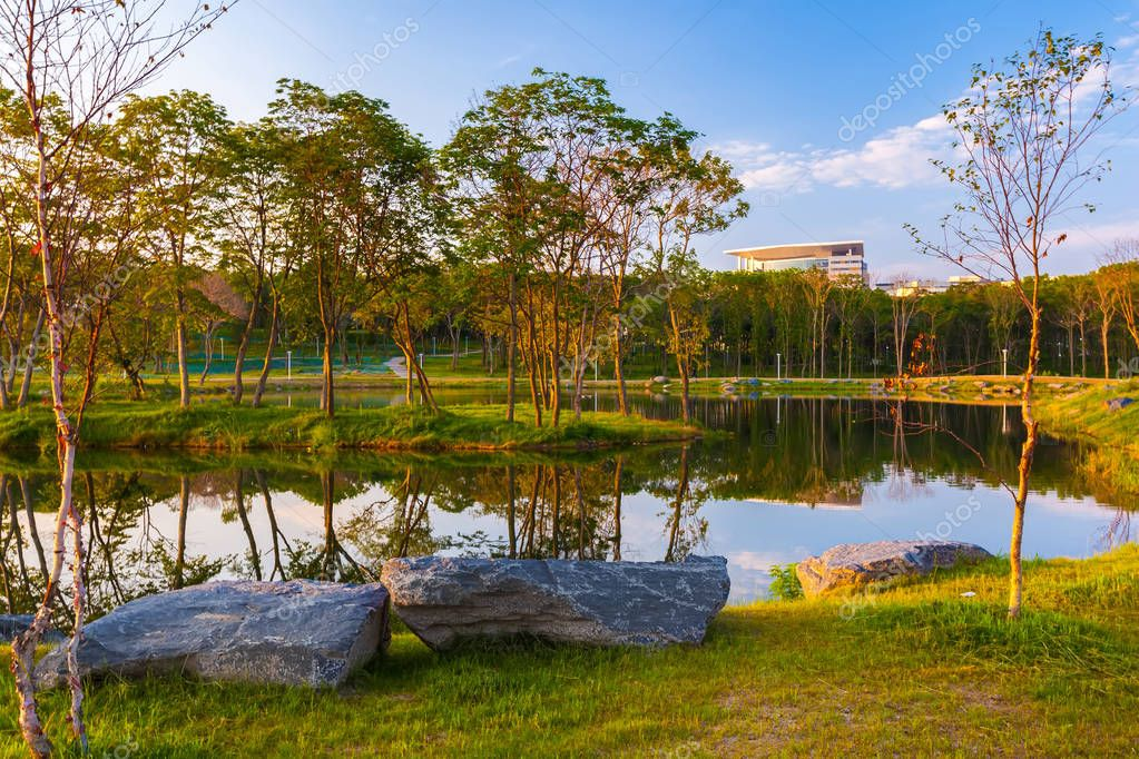 Colorful lake with decorative stones on the shore and young trees at sunrise landscape. Far Eastern Federal University DVFU, Island Russian, Vladivostok, Primorsky region, Russia.