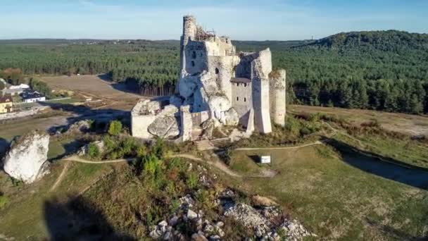 Ruins Medieval Castle Mirow Poland Built 14Th Century Rocky Hill Stock Video