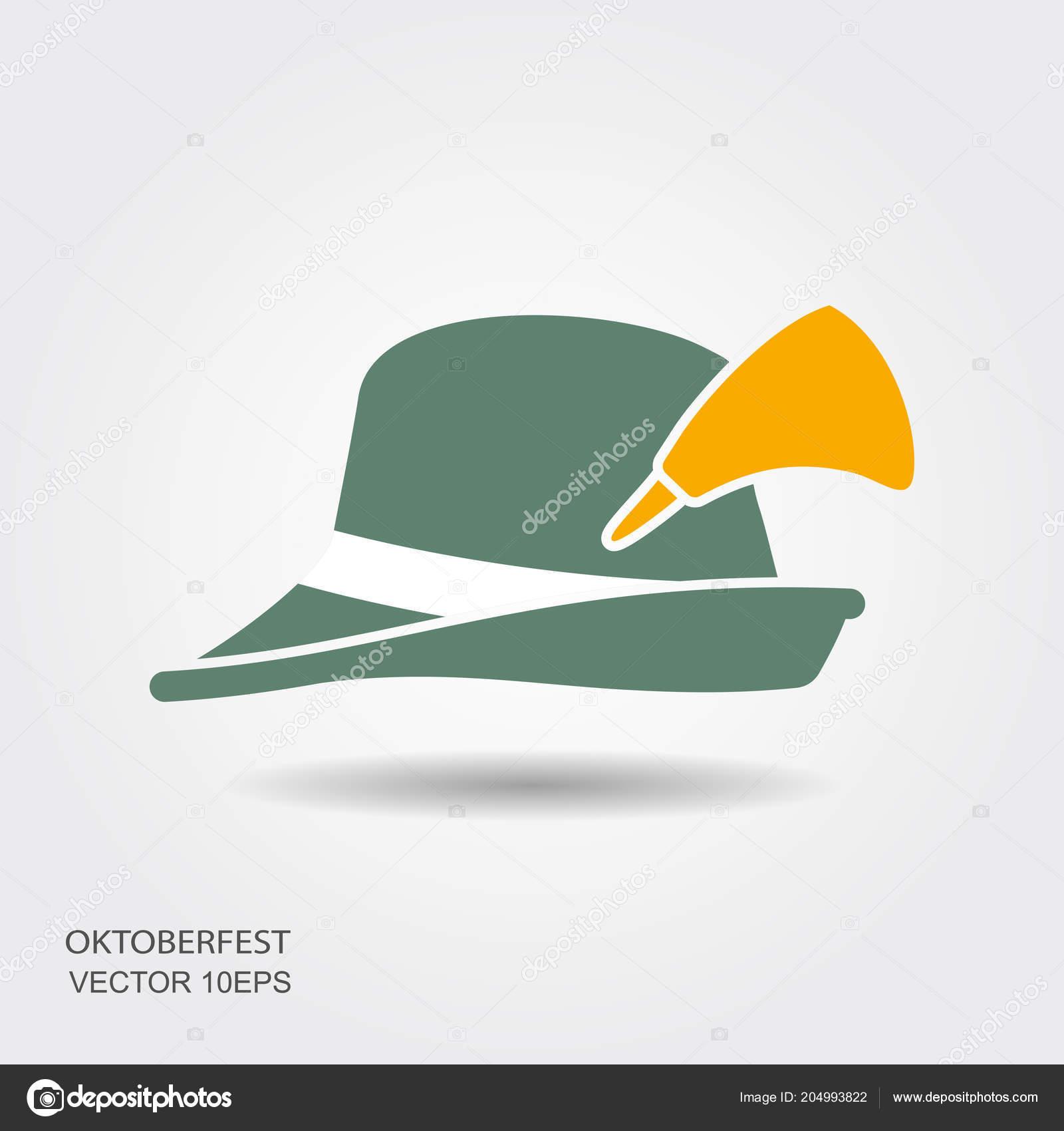 Flat design green oktoberfest hat on white background — Stock Vector ... cdb0f207105