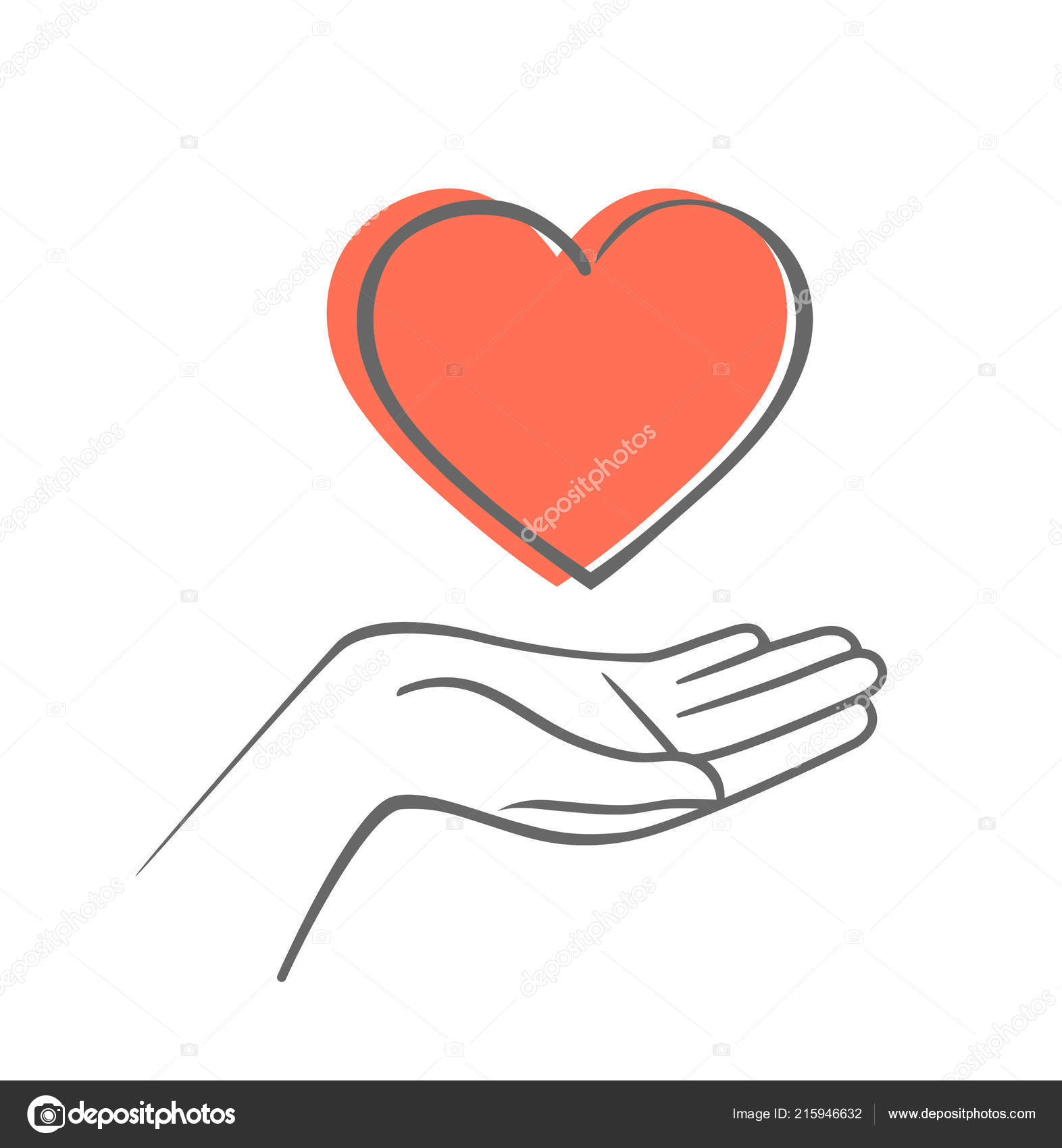 Hand Holding Heart Shape Hand Draw Vector Icon Stock Vector