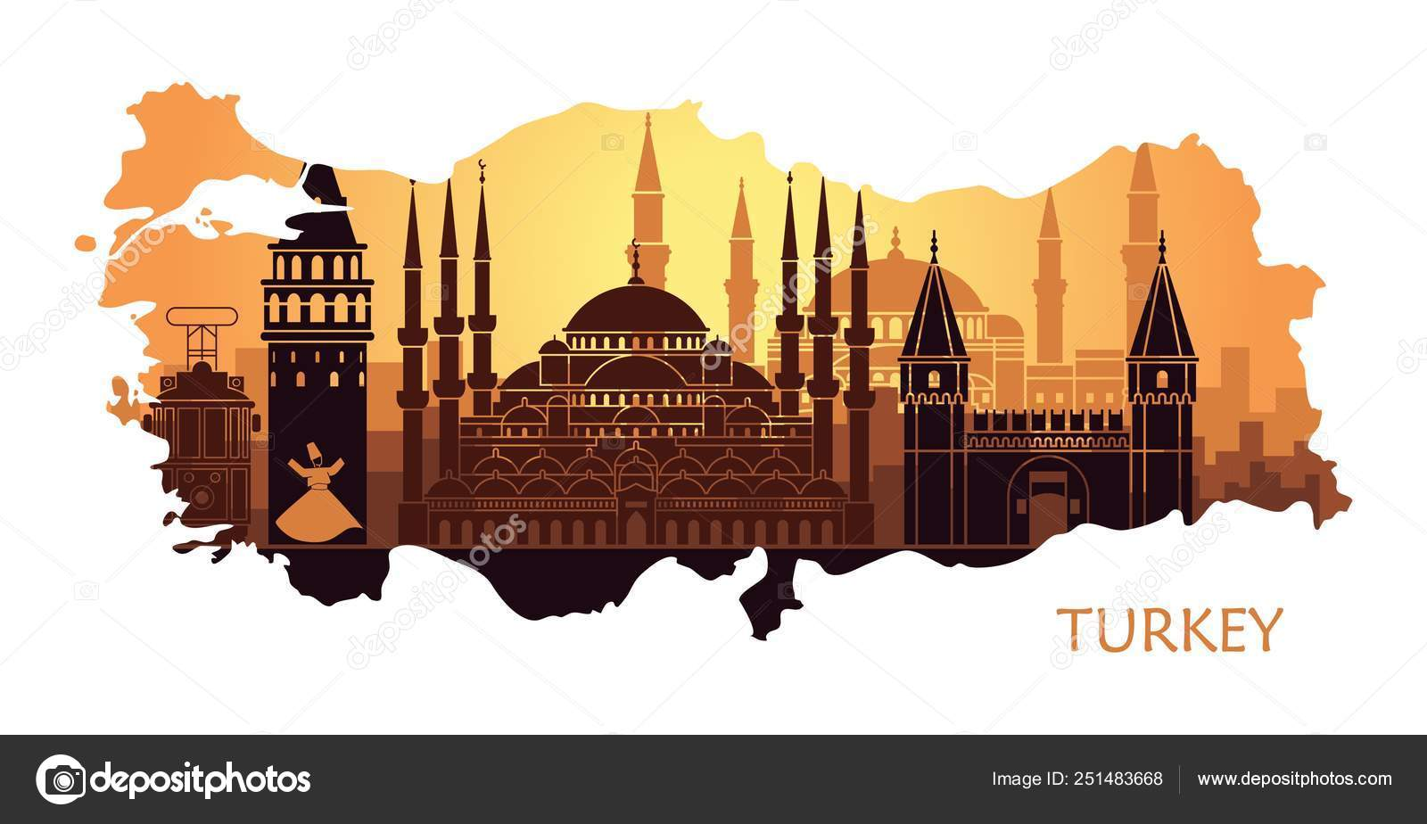 Abstract Landscape Of Istanbul With The Main Sights In The Form Of