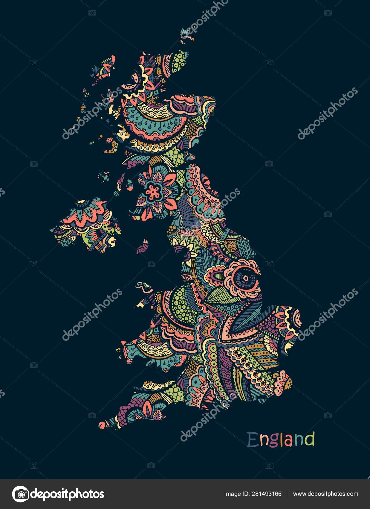 Map Of England Drawing.Textured Vector Map Of England Illustration In Hand Drawing Doodle