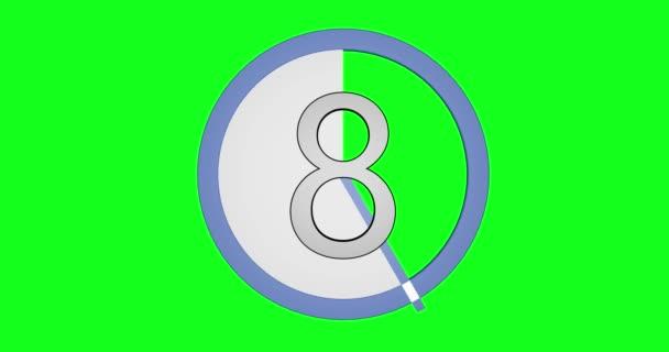 Nézni a számok 10-0-a zöld chroma háttérben animáció.
