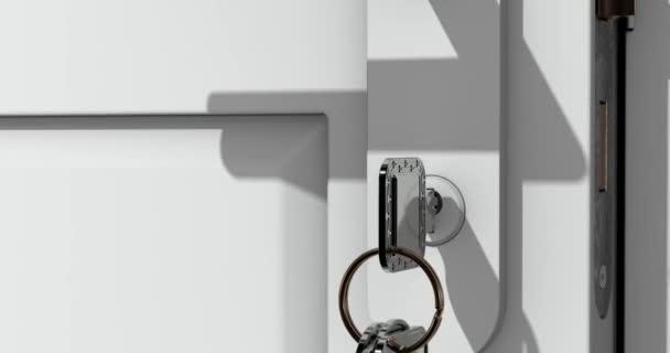 Animace z bílé dveře s klíčem.