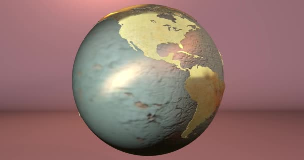 Animace planety země se s rezavou textur v jednolité pozadí.