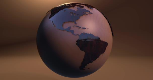 Animace planety země z dřeva.