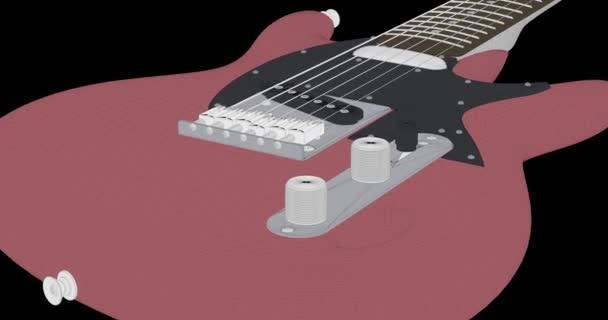 Animace, které zobrazuje elektrickou kytaru v cartoonish stylu.