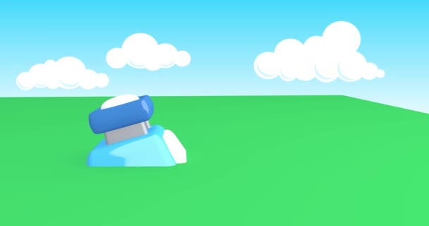 Cartoon animation of a device in a sunny land.