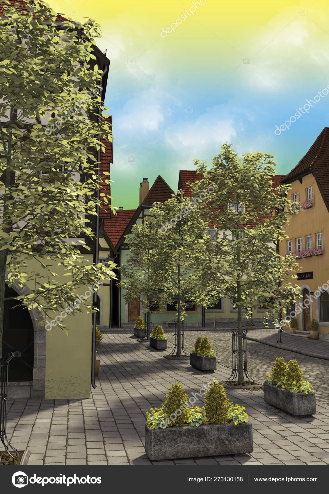 Illustration Daytime Fantasy Town — Stock Photo © daemon