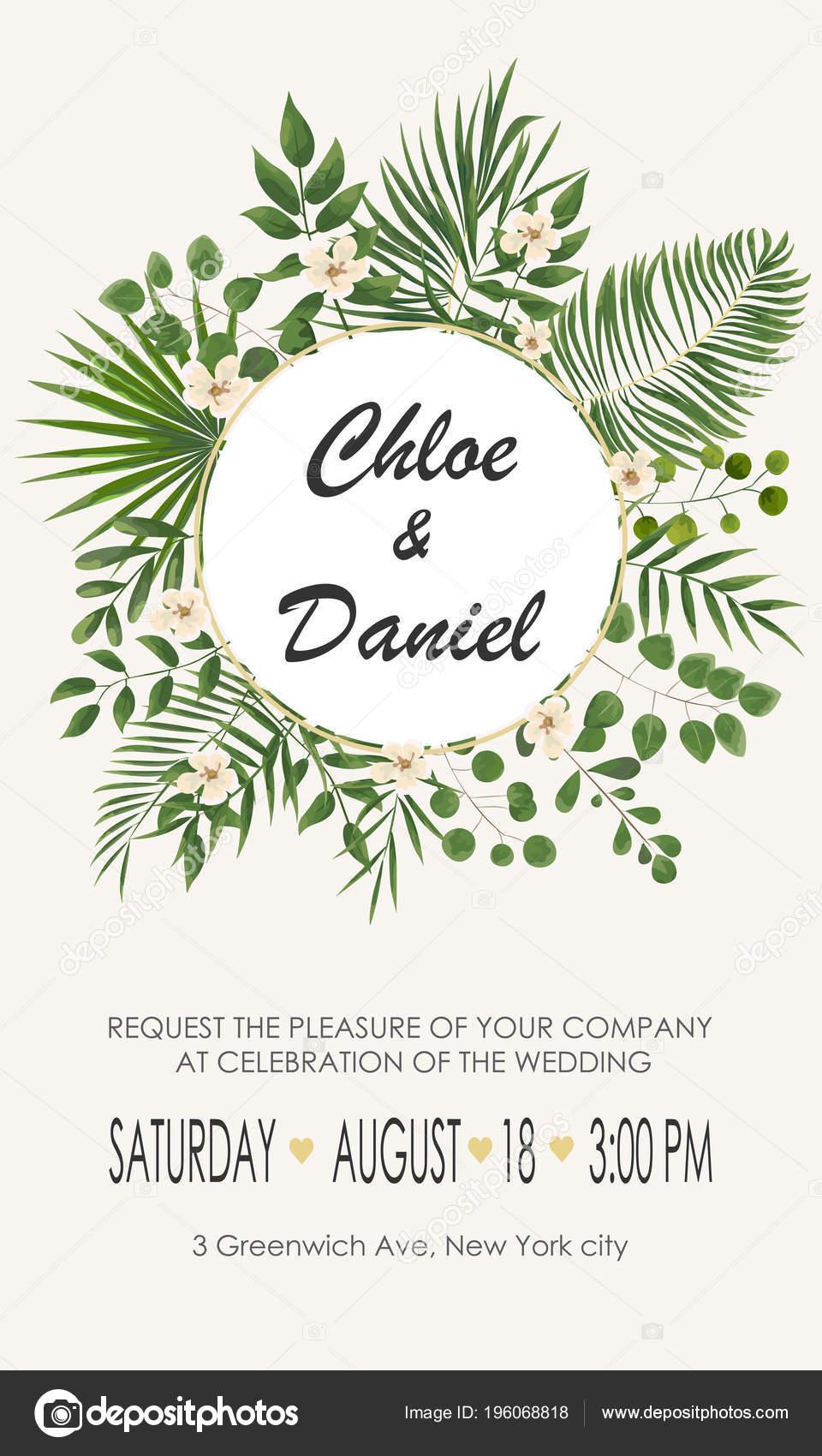 Wedding Invitation Template Flowers Green Leaves Rsvp Modern Card