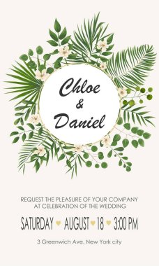 Wedding Invitation template with  flowers and green leaves. rsvp is a modern card design. natural, Botanical, elegant vector illustration