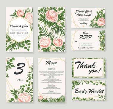 set Wedding Invitation with peonies, flowers and green leaves. rsvp is a modern card design. natural, Botanical, elegant vector illustration
