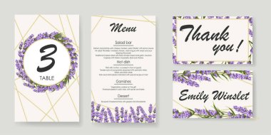 set wedding Invitation with lavender. elegant vector illustration