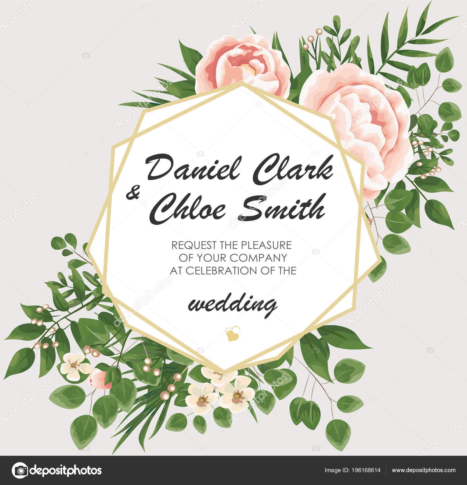 wedding invitation template peonies flowers green leaves rsvp modern