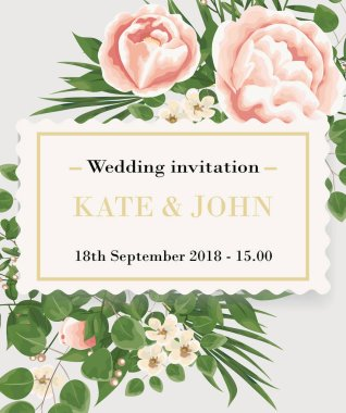 Wedding Invitation template with peonies, flowers and green leaves. rsvp is a modern card design. natural, Botanical, elegant vector illustration