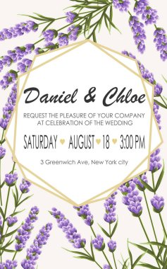 Wedding invitation with lavender. elegant vector illustration