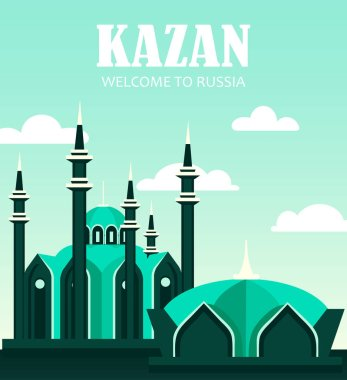 Russia. postcard, banner.welcome to Russia. flat illustration with  city