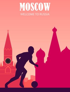 football 2018. Russia. postcard, banner.welcome to Russia. flat illustration with city and football player.