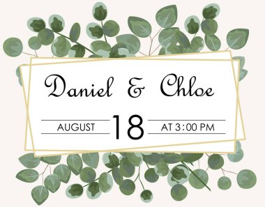 background for text from eucalyptus. gray and green eucalyptus.invitation, postcard with eucalyptus. rustic style, Botanical style. burp with greens. vector illustration