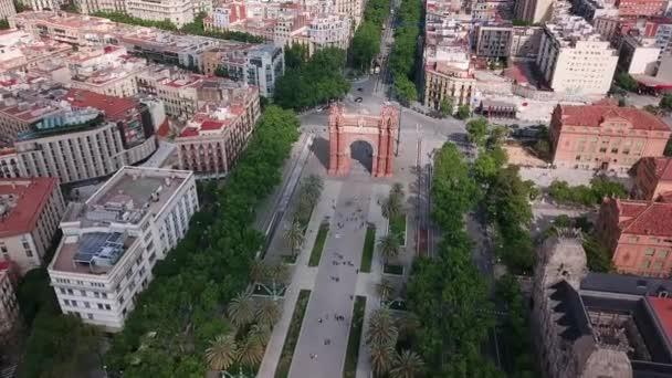 Barcelona, Španělsko. Letecký pohled na Arc de Triumph