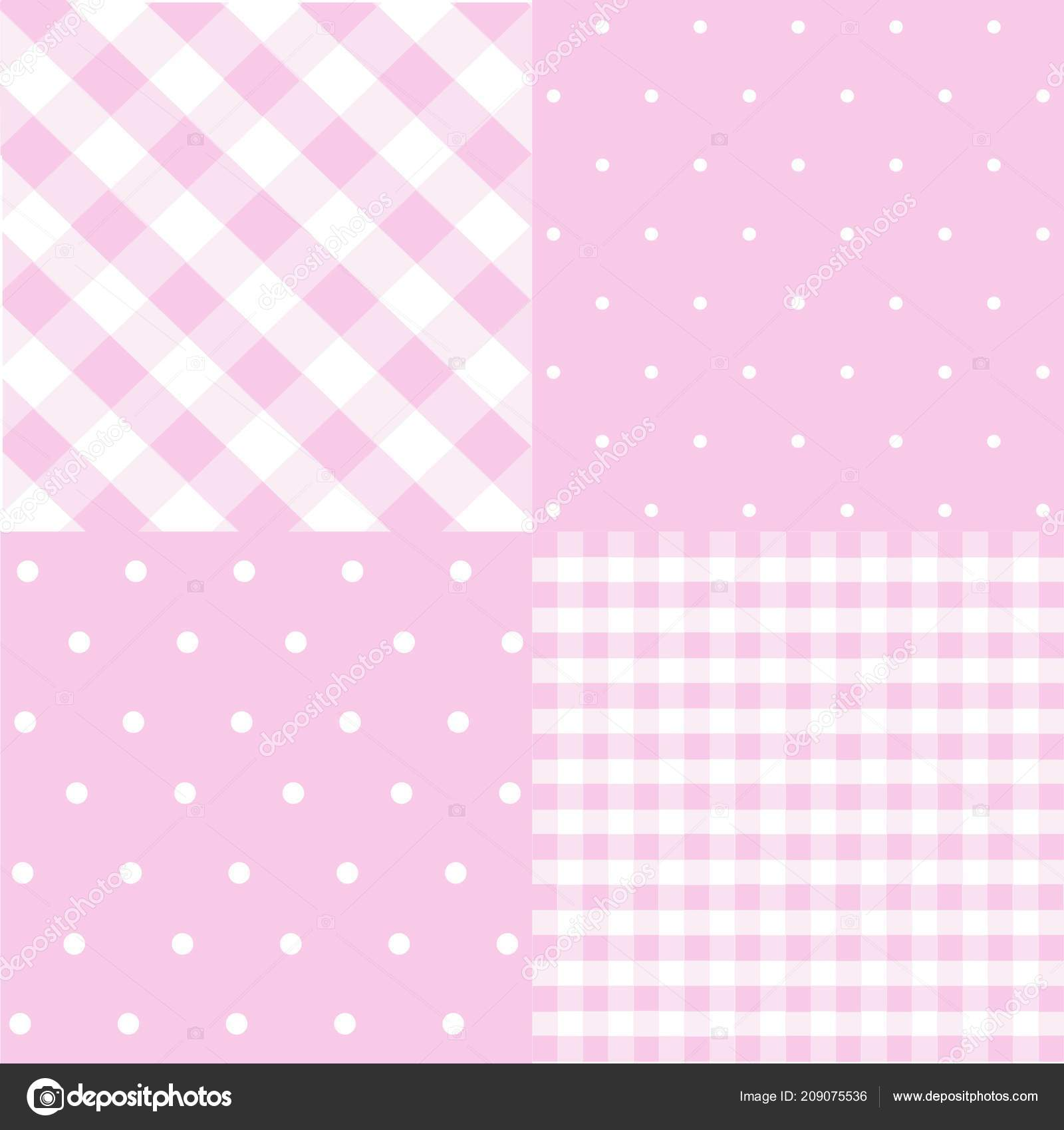 Seamless Patterns Baby Girl Shower Party Set Cute Pink Backgrounds
