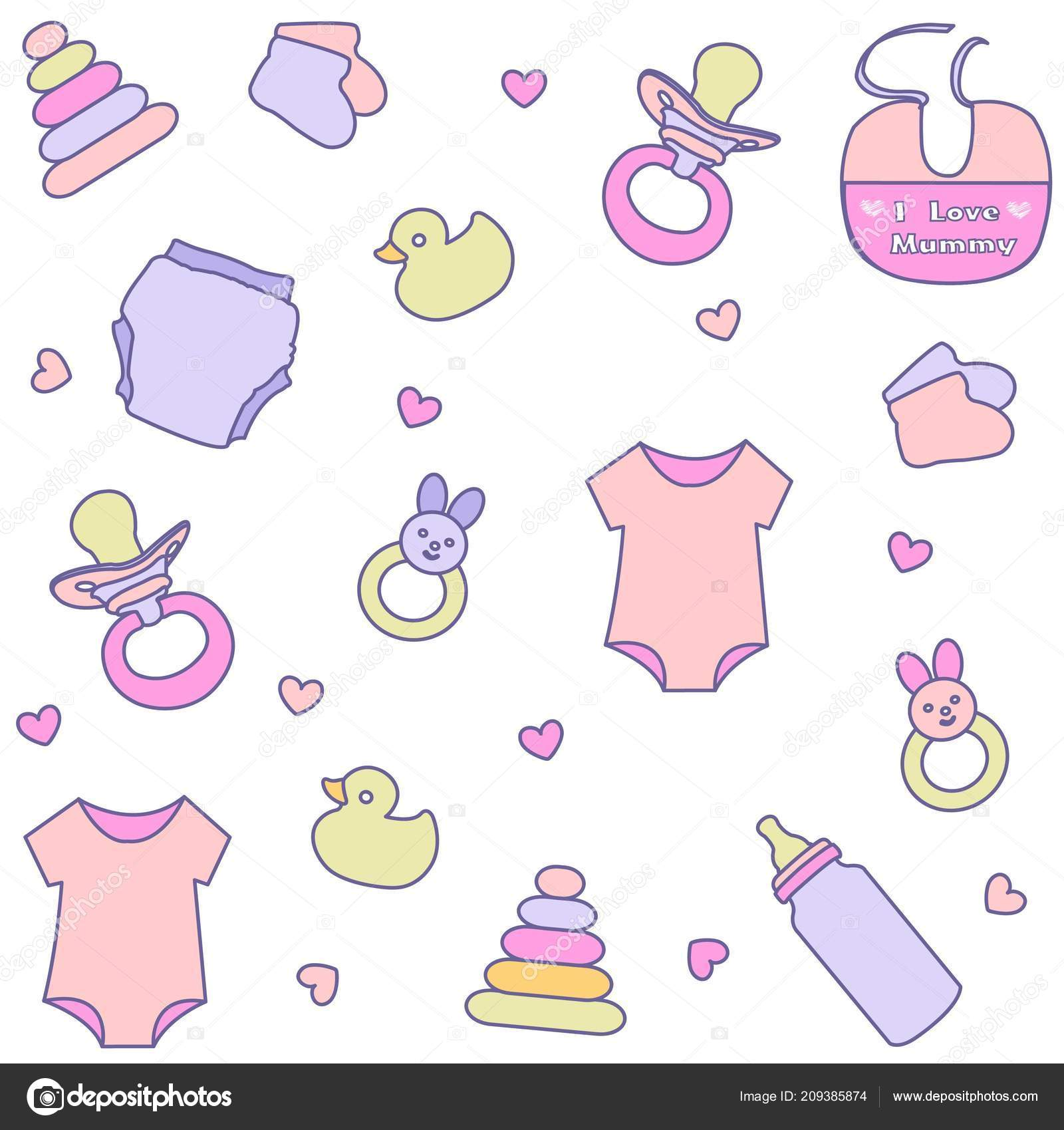fe976d6f3840 Seamless Pattern Baby Girl Items Newborn Clothes Accessories — Stock ...