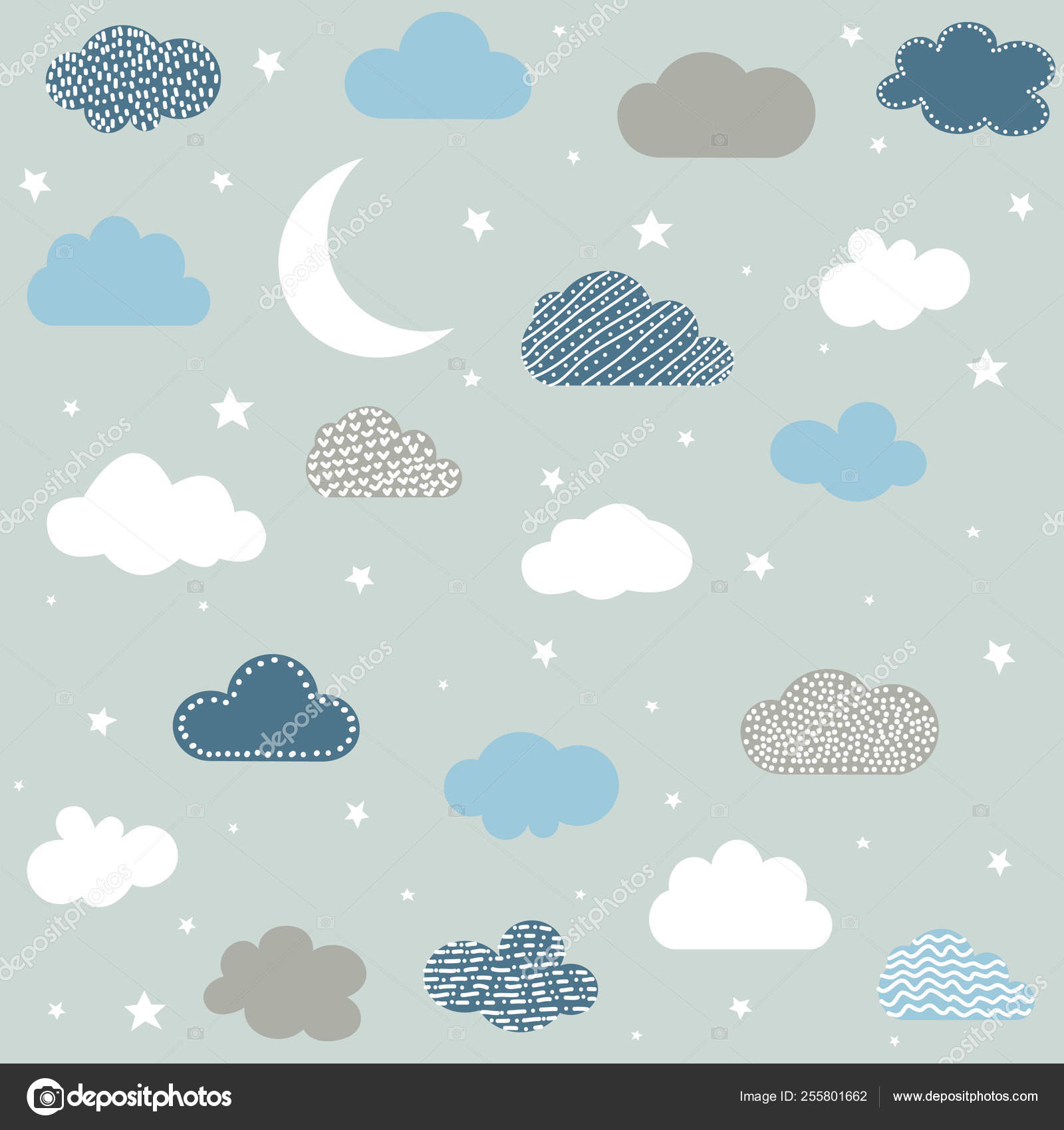 Cute Baby Clouds Stars Moon Pattern Vector Seamless — Stock
