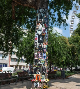 Budapest, Hungary -  3 august, 2018 :in front of this tree is the hotel where Michael Jackson was staying in Budapest. it was a meeting point for the fans on which they climbed to try to catch a glimpse of the King of Pop in his suite.