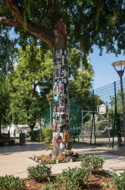Budapest, Hungary - 3 august, 2018 :in front of this tree is the hotel where Michael Jackson was staying in Budapest, it was a meeting point.