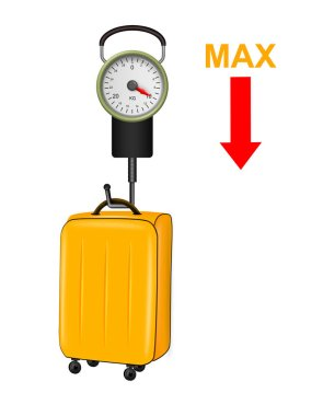 Illustration of manual scale to weigh suitcases at the airport on white background