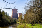 Cooling towers and chimney of the decommisioned power station in Ironbridge, Shropshire, UK on 10 April 2019