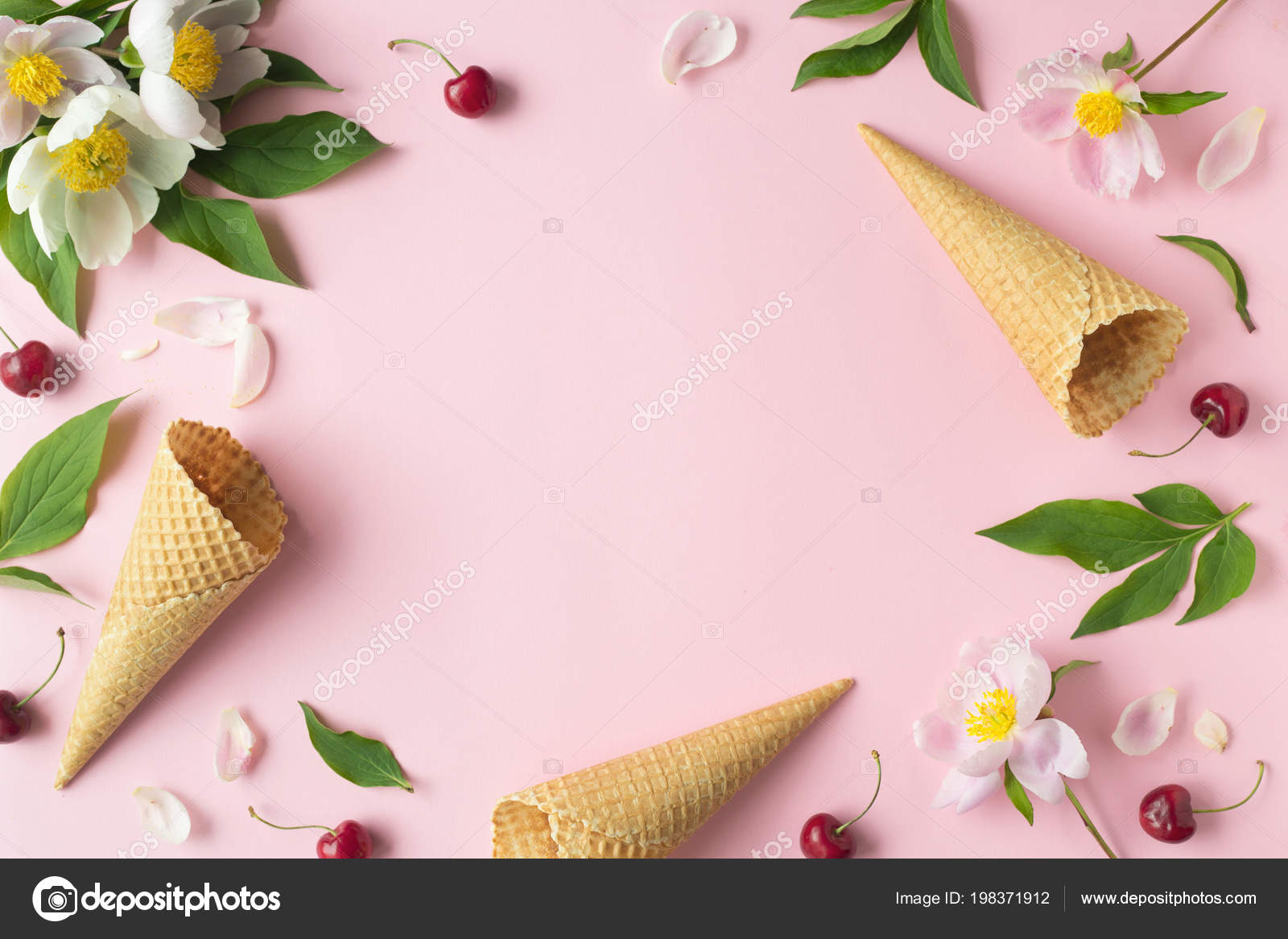 Flatlay Of Cerry Sweet Cones And Peonies Over Pastel Pink Background Top View With Space For Your Text Stock Photo C Nikadv Inbox Ru 198371912