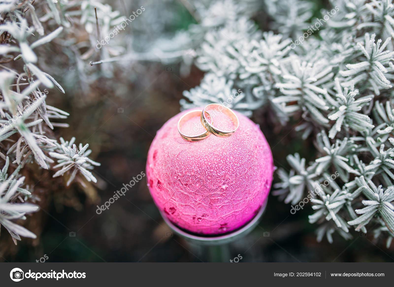 Wedding Rings Pink Christmas Ball Christmas Tree Snow Advertising ...