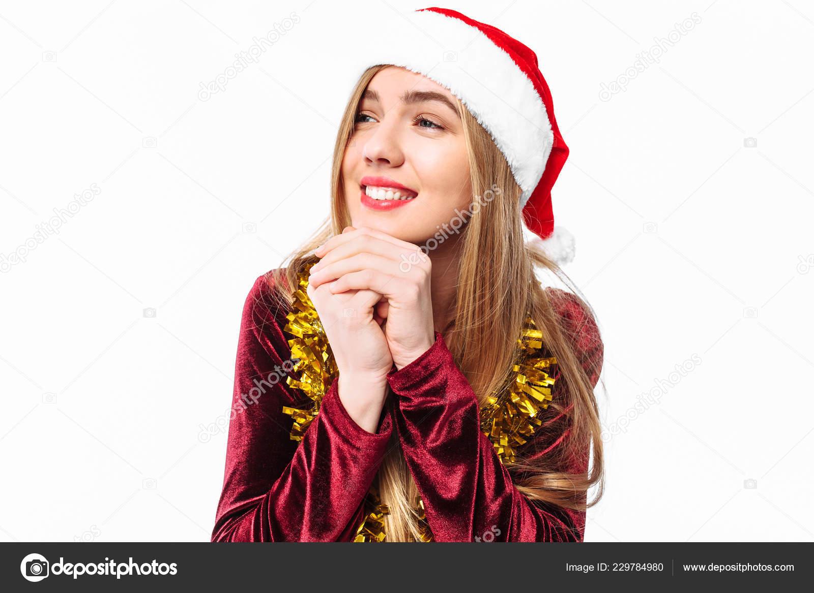 f456d8bd3d914 Beautiful Cute Girl Hat Santa Claus Dress Dreams Looks Away– stock image