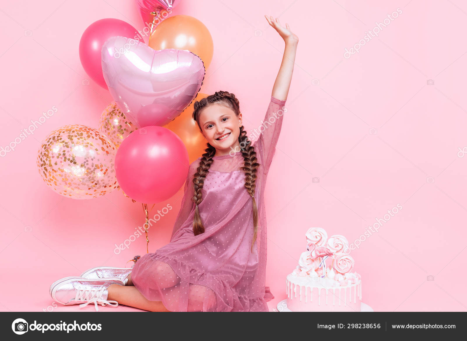 Groovy Teenage Girl With Balloons And A Birthday Cake Posing On A Pink Birthday Cards Printable Opercafe Filternl