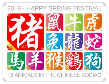Vector Chinese zodiac signs with the year of the pig in 2019