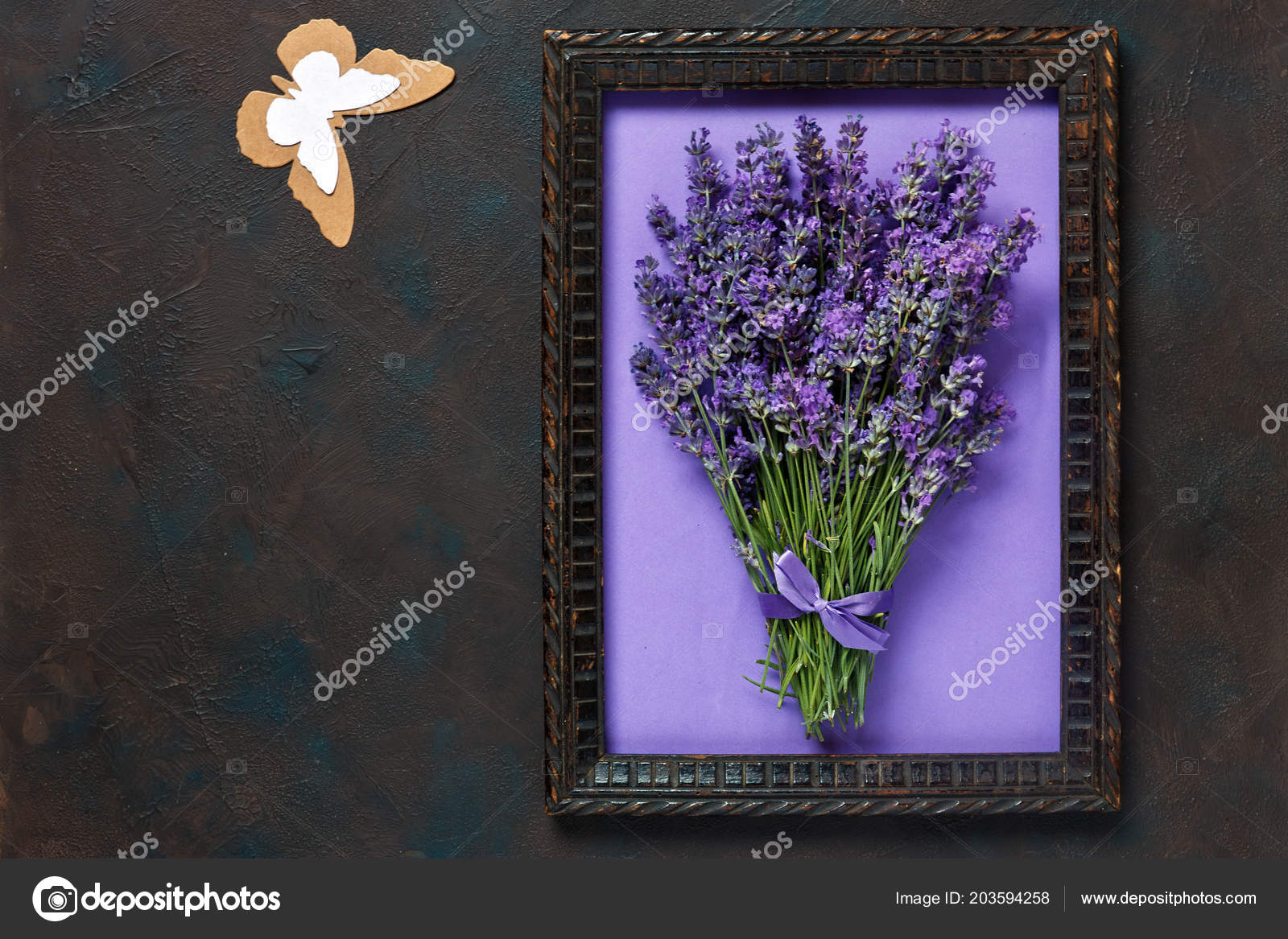 Bouquet Lavender Wooden Frame Paper Silhouette Butterfly Stock