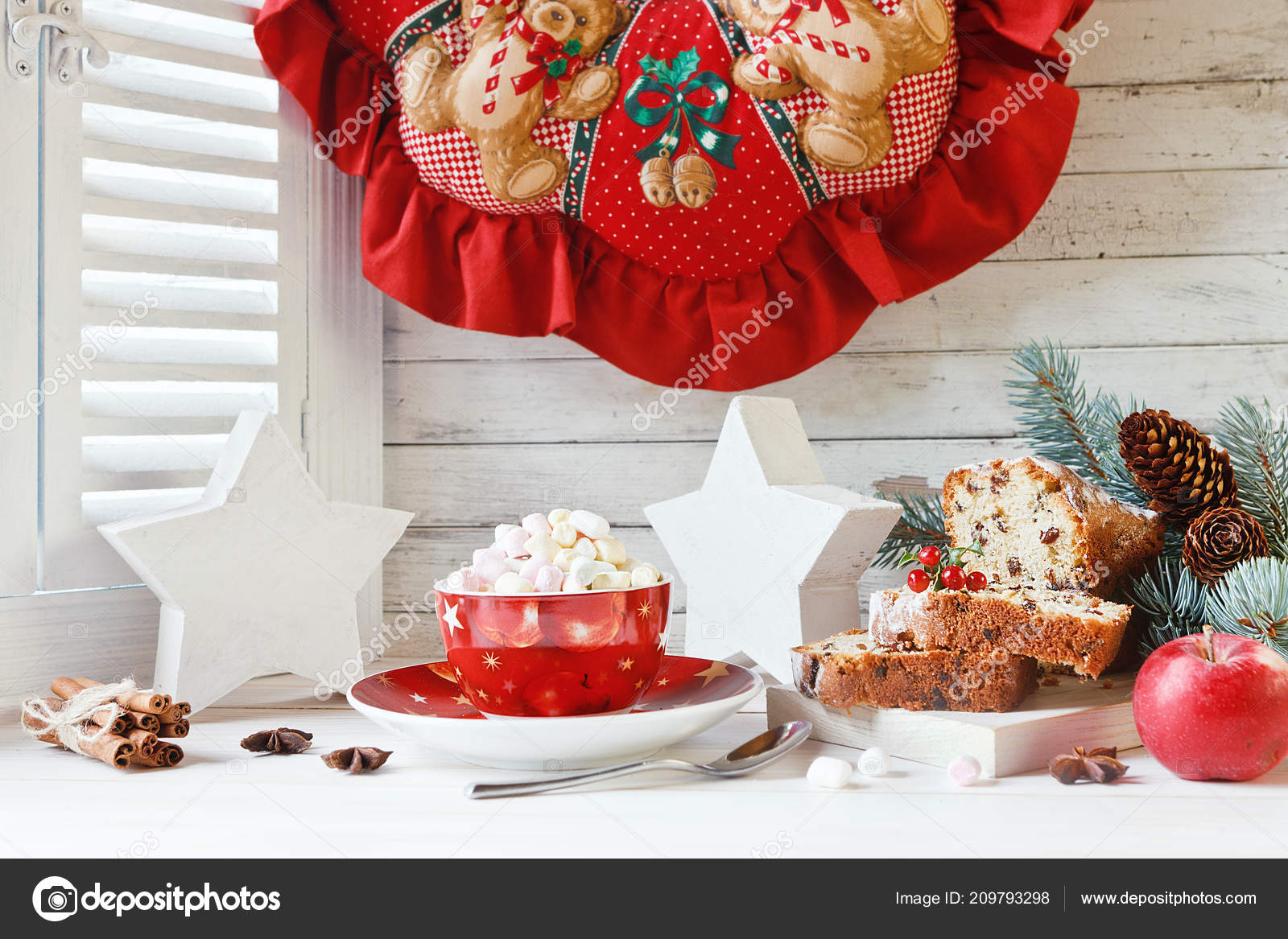 Cup Hot Drink Marshmallow Sliced Cupcake Christmas Wreath Fur Tree