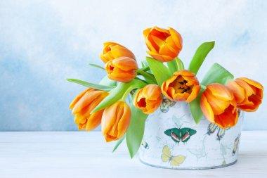 Bouquet of orange tulips. Concept for Valentine's Day, womens da