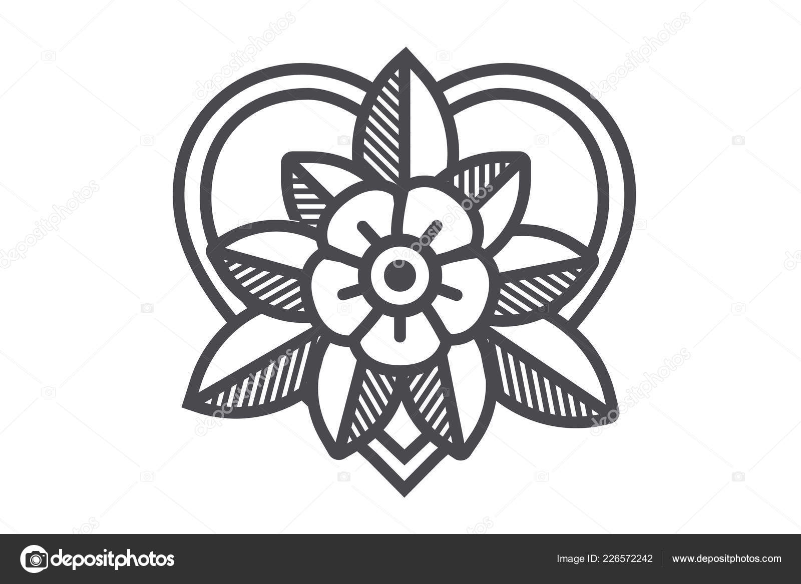 Old School Tattoo Art Flower Design Decoration Vector Illustration ...