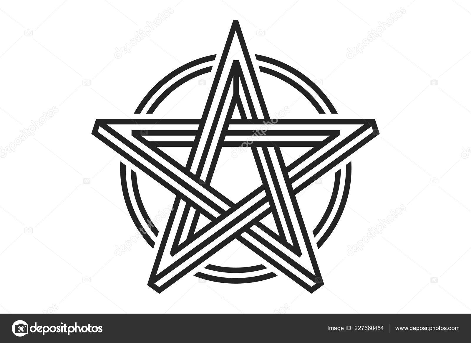 200c5b7a0dc1e Pentagram Sign Five Pointed Star Magical Symbol Faith Simple Flat — Stock  Vector