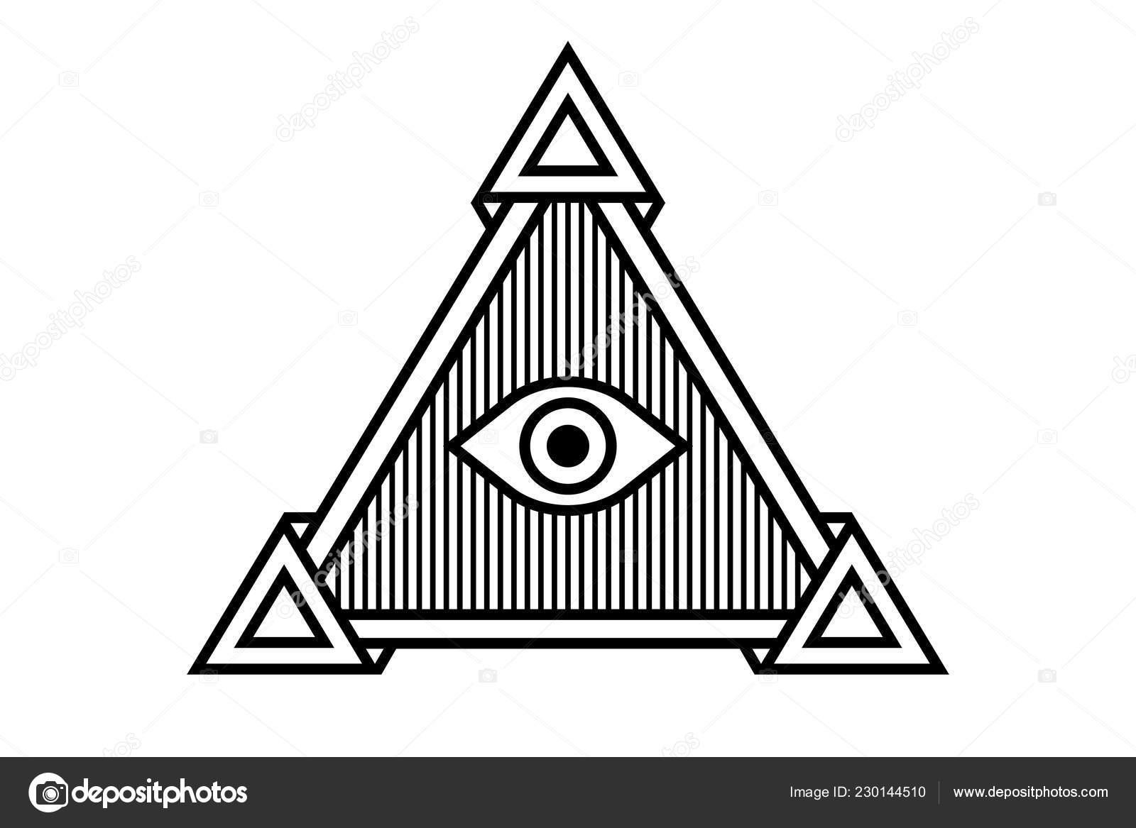 b24f688a43f8b Ilustración Icono Ver Todos Símbolo Del Ojo Illuminati Pirámide Diferentes  — Vector de stock