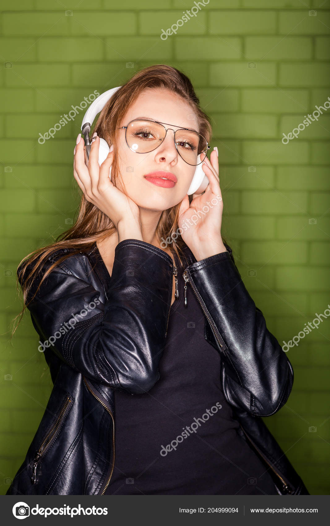 Negro Señora Hermosa Estilo Flash Gafas Moda Cuero Retrato qYxnw4TBET
