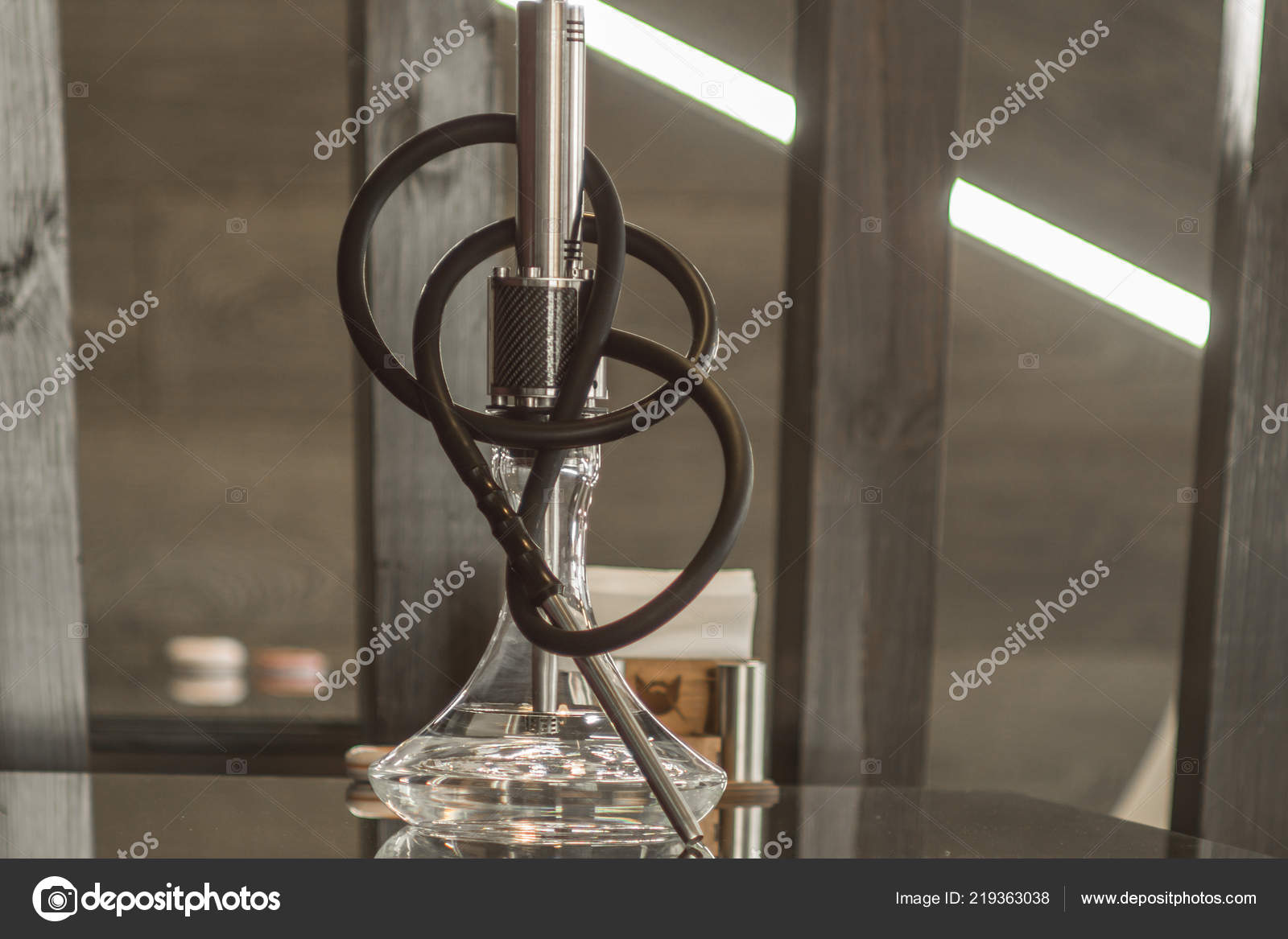 Beautiful Glass Hookah Wooden Table Hookah Bar Stock Photo