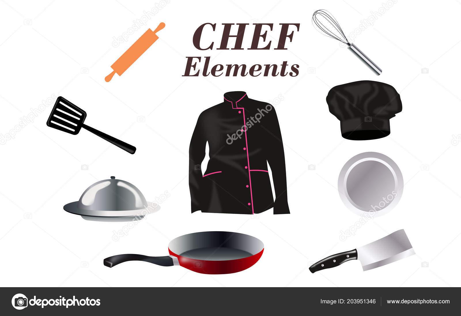 Icone Concetto Design Piatto Utensili Cucina Con Uno Chef Strumenti ...