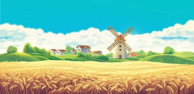 Rural summer landscape with the village and the mill and a large field of wheat stock vector
